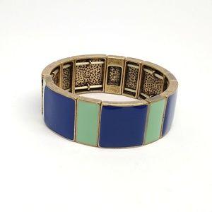 J. Crew Enamel and brass elastic cuff bracelet